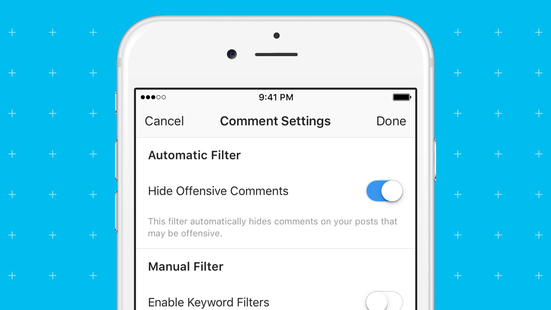 Instagram, offensive comments filter, blcok trolls and spam24496333-159532