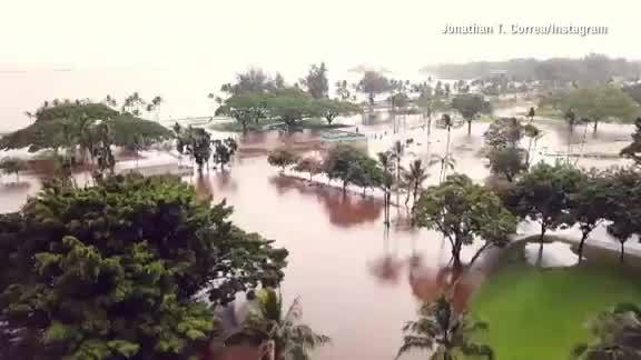 Drone video of flooding in Hilo