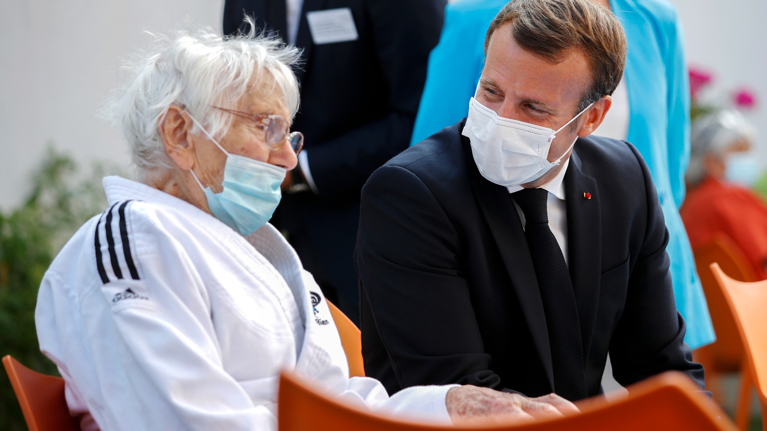 Emmanuel Macron at a retirement home