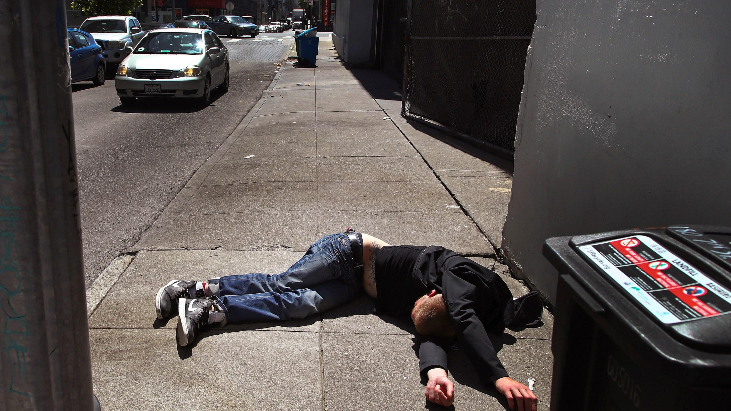 Man on sidewalk in San Francisco